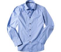 Hemd Slim Fit Baumwolle hellblau gemustert