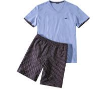 Herren Schlafanzug Pyjama Baumwolle hellblau-multicolor gemustert