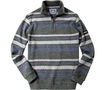 Pullover Troyer Baumwolle grün-grau gestreift