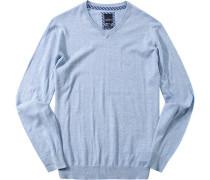 Pullover Baumwolle hellblau meliert