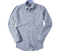 Hemd Modern Fit Popeline -khaki gemustert