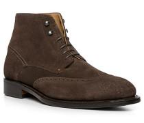Schuhe Stiefelette, Veloursleder, testa di moro