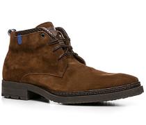 Schuhe Schnürstiefeletten Kalbveloursleder