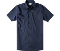 Herren Hemd Slim Fit Popeline-Stretch dunkelblau