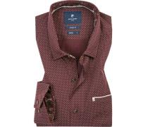 Hemd, Modern Fit, Baumwolle, bordeaux gemustert
