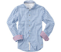 Herren  Hemd Baumwolle blau-weiß kariert