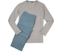 Schlafanzug Pyjama Baumwolle -multicolor gemustert