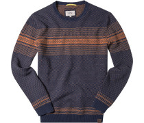 Pullover, Baumwolle, dunkelblau-orange gemustert