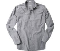 Herren Hemd Modern Fit Strukturgewebe grau gemustert blau