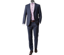 Anzug, Regular Fit, Schurwolle, saphirblau meliert