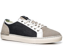 Herren Schuhe Sneaker Leder-Textil-Mix hellgrau-navy blau,weiß,grau