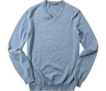 Pullover Modern Fit Merinowolle extrafein graublau