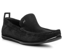 Herren Schuhe Slipper Veloursleder schwarz schwarz,schwarz