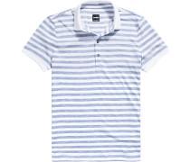 Polo-Shirt Polo, Baumwoll-Jersey, rauchblau-weiß gestreift