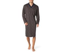 Nachthemd, Baumwolle, marine gemustert