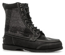 Schuhe Schnürstiefeletten, Nubukleder-Textil, -grau