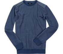 Pullover, Baumwolle, jeansblau gemustert