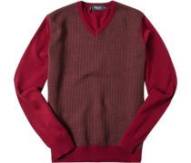 Pullover Merinowolle extrafein barolo-hellbraun gemustert