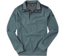 Pullover Troyer Baumwolle petrol-blau meliert
