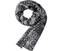 Schal Seide schwarz-silber gemustert
