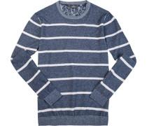 Pullover Leinen-Baumwolle rauchblau-weiß gestreift