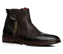 Herren Schuhe Stiefeletten Büffelleder testa di moro braun,rot
