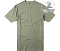 Herren T-Shirt Regular Fit Baumwoll-Mix grün meliert