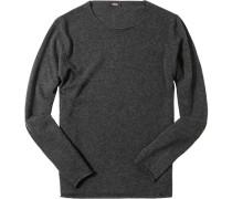 Pullover Wolle-Kaschmir dunkelgrau meliert
