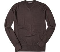 Pullover Schurwolle-Seide dunkelbraun meliert
