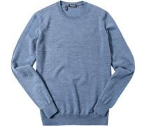 Herren Pullover Modern Fit Merinowolle hellblau meliert