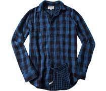 Hemd, Baumwolle, capriblau-schwarz kariert