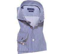Hemd Slim Fit Baumwolle marineblau-weiß gestreift