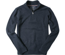 Pullover Zip-Troyer Wolle navy meliert