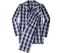 Schlafanzug Pyjama Baumwolle navy-weiß kariert