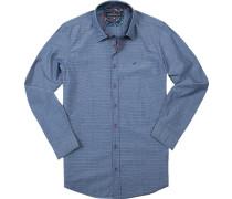 Hemd Modern Fit Baumwolle rauchblau gemustert
