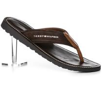 Schuhe Zehensandale Veloursleder dunkelbraun