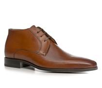 Schuhe Schnürstiefeletten Kalbleder cognac