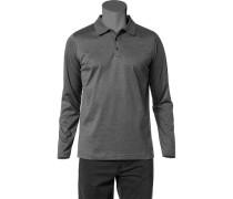 Herren Polo-Shirt Polo Baumwoll-Jersey grau meliert