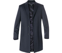 Mantel Schurwolle-Kaschmir nachtblau