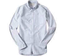 Hemd, Oxford, hellblau-weiß gestreift