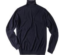 Pullover Seiden-Kaschmir-Mix marineblau