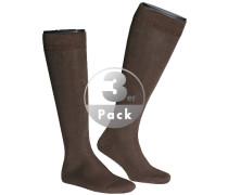Socken 3er Pack Kniestrumpf dunkelbraun