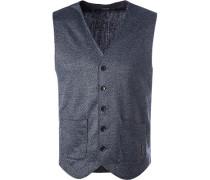 Pullover Weste Merino-Schurwolle nachtblau-grau meliert