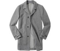 Mantel Wolle ungefüttert hellgrau-weiß gemustert