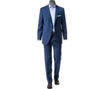Herren Anzug Modern Fit Schurwolle Super100 blau meliert