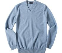 Herren Pullover Baumwolle hellblau meliert