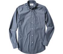 Oberhemd Regular Fit Baumwolle jeansblau-weiß gemustert