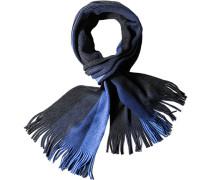 Herren  Schal Wolle blau-anthrazit gestreift