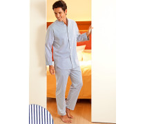 Schlafanzug Pyjama Baumwolle weiß- gestreift