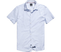 Oberhemd Slim Fit Baumwolle bleu-weiß gestreift